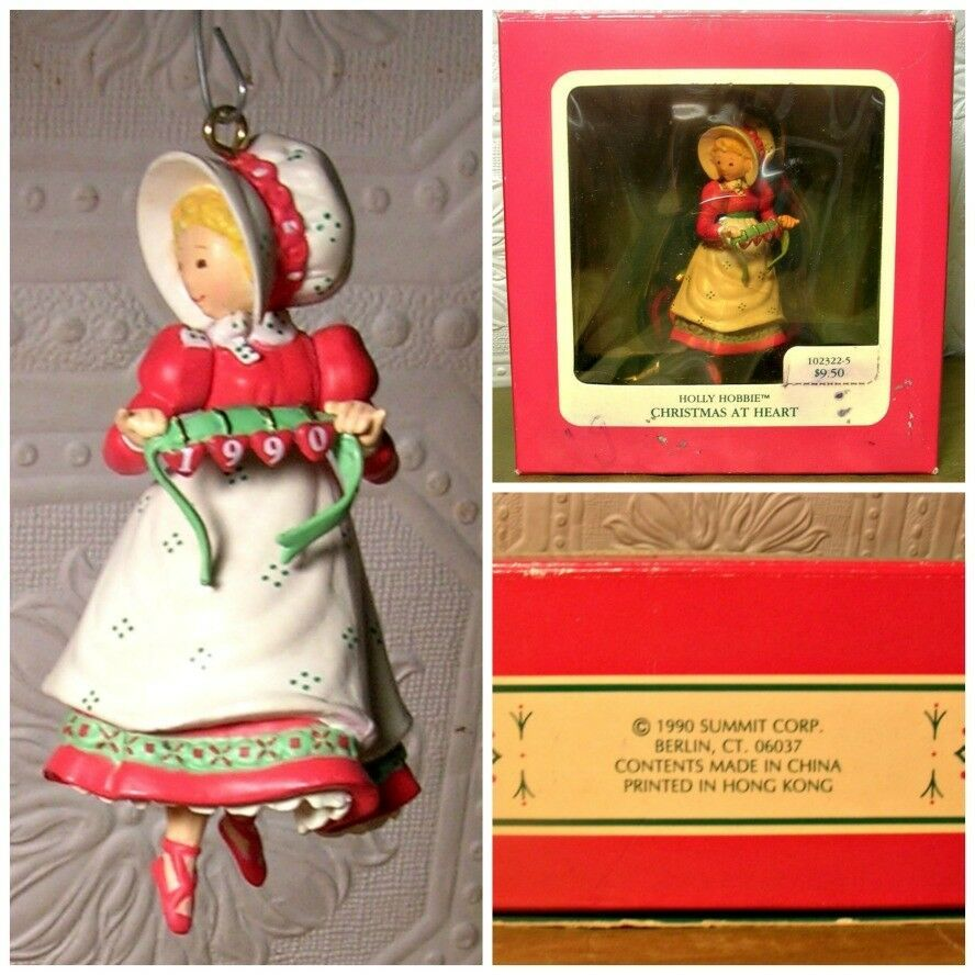 1990 hollie hobby christmas ornament 1990 made in hong