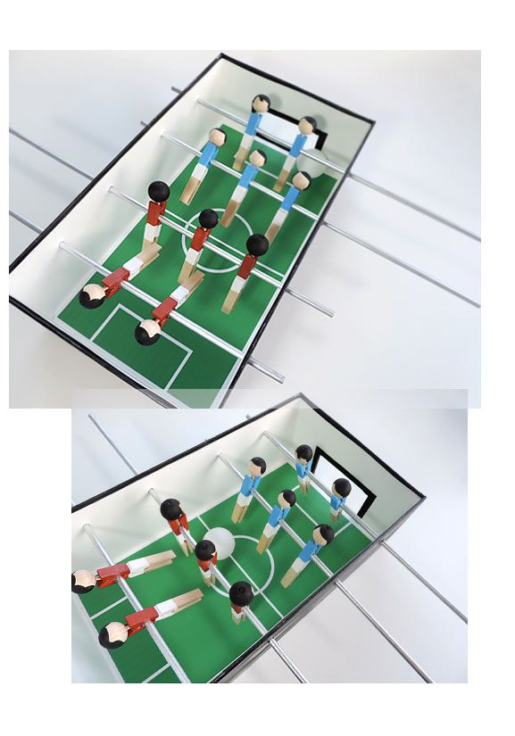 sonja egger baut mini tisch fussball sonja egger. Black Bedroom Furniture Sets. Home Design Ideas