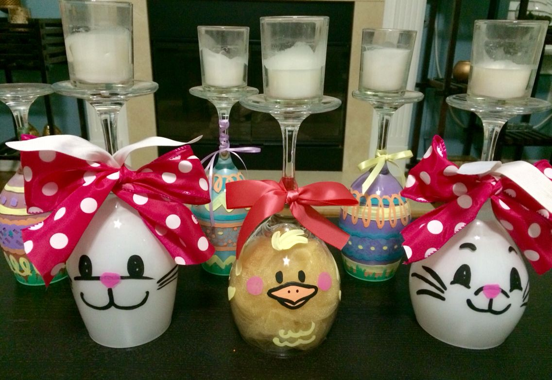 Diy Easter Candle Holders Made From Spray Paint And Dollar Tree Wine Glasses Easter Candle Holders Wine Glass Candle Holder Wine Glass Crafts