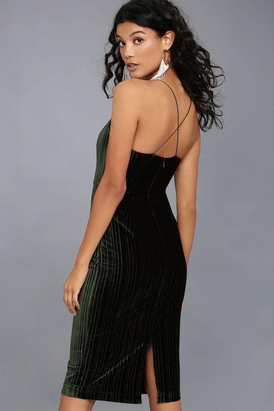 aeae24e5582f #Lulus - #Lulus Lauren Forest Green Velvet Bodycon Midi Dress - AdoreWe.com