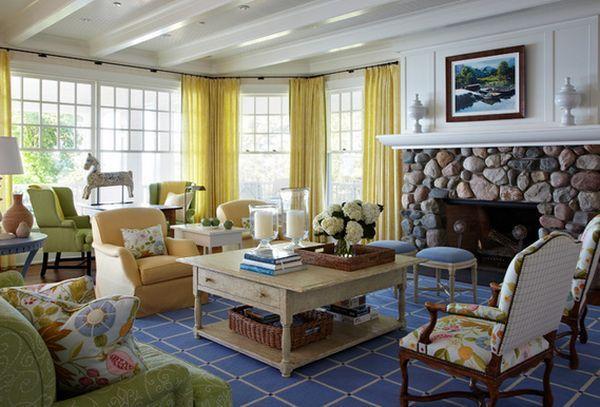 Beach House Great Room Ceiling Design | Home Designs : Low Ceiling Living Room Rocks Fireplace Interior Design ...