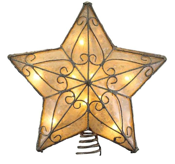 Fits Perfectly On Christmas Tree Silver Trimming Pattern Kurt Adler 10 Light Indoor UL Star Treetop