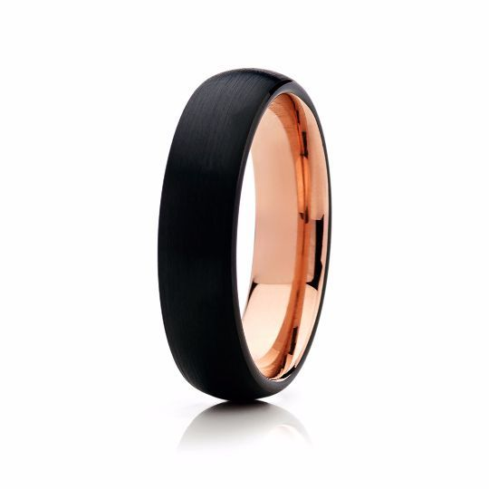 6mm Black with Rose Gold Tungsten Mens Wedding Band