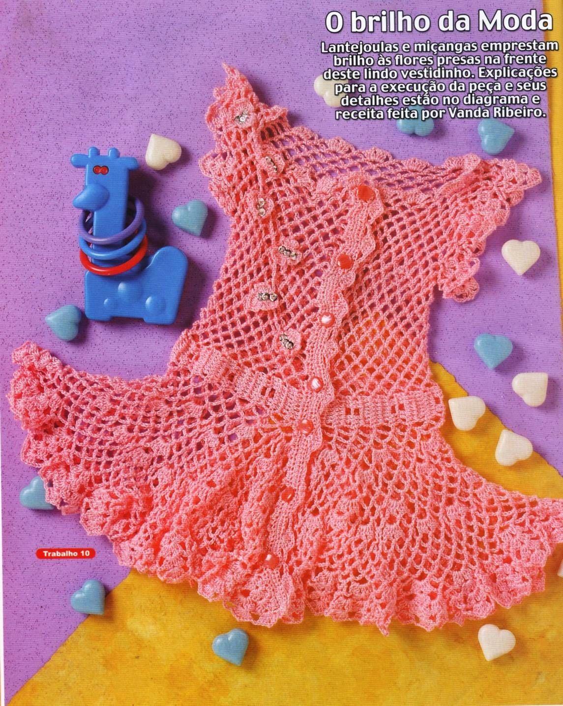 Receita De Croche Infantil Vestido De Croche Tamanho 7 Meses