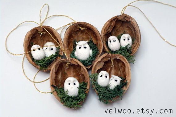Owl Ornament Set Rustic Christmas Decorations Animal By Velwoo