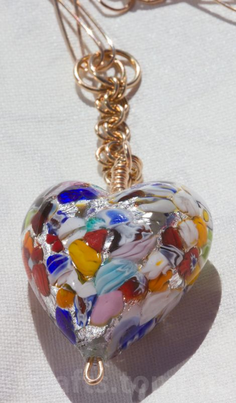 Klimt inspired venetian glass heart with handcrafted bronze chain-sold