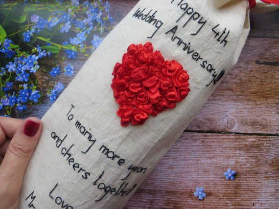4th Wedding Anniversary Gift For Him 12th Anniversary Gift For Men Linen Anniversary Gift For Husband Boutonniere Embroiderymisskonvalia 12th Anniversary Gifts 4th Wedding Anniversary Gift 12 Year Anniversary Gifts
