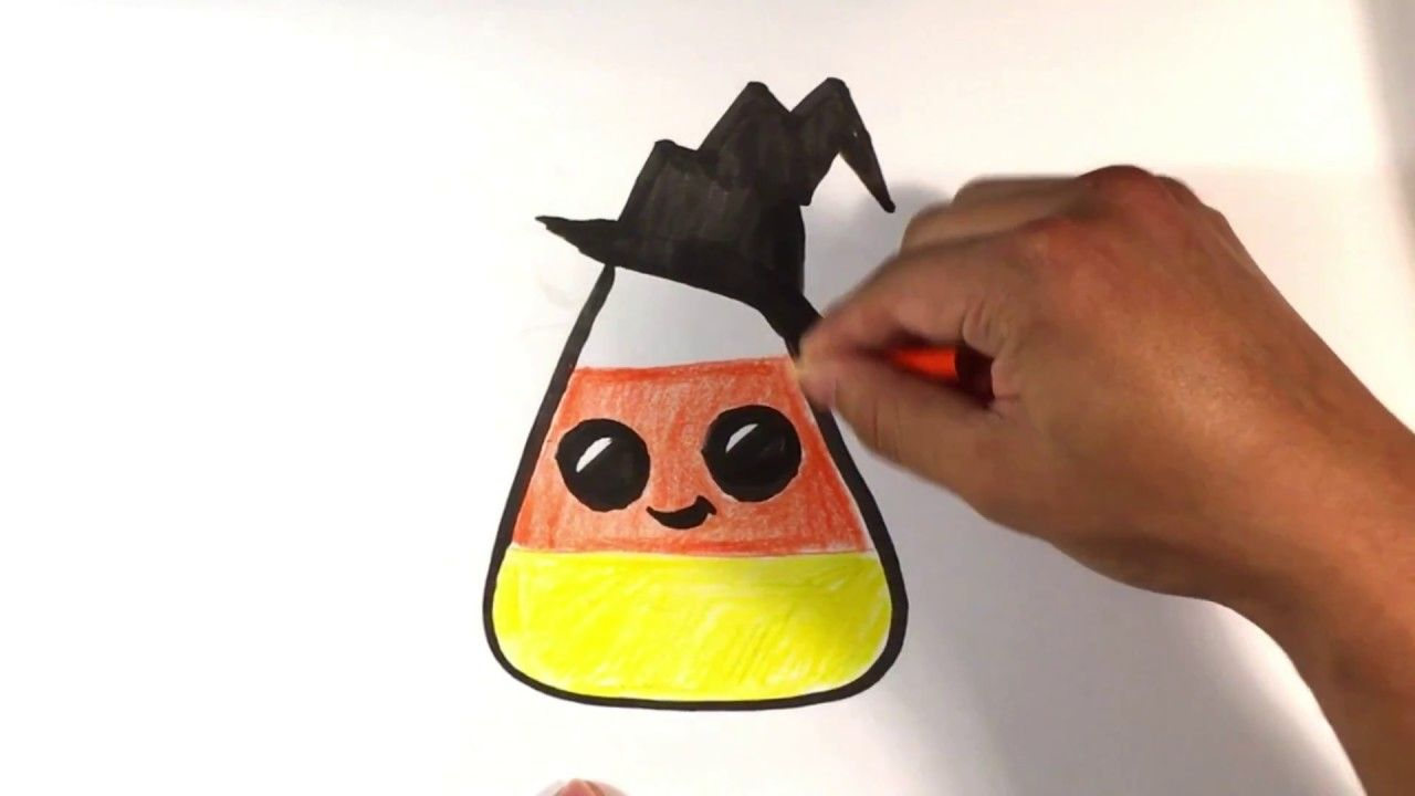 How to Draw Cute Candy Corn , Hat Version, Halloween