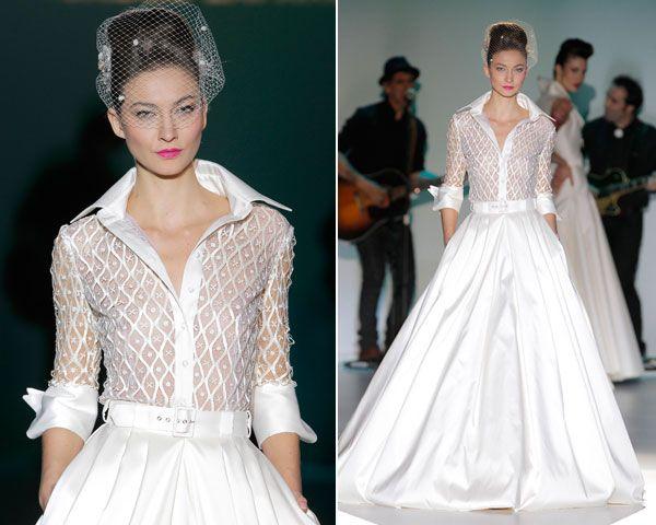 vestidos de novia con camisa y falda #bodas #novias #vestidos