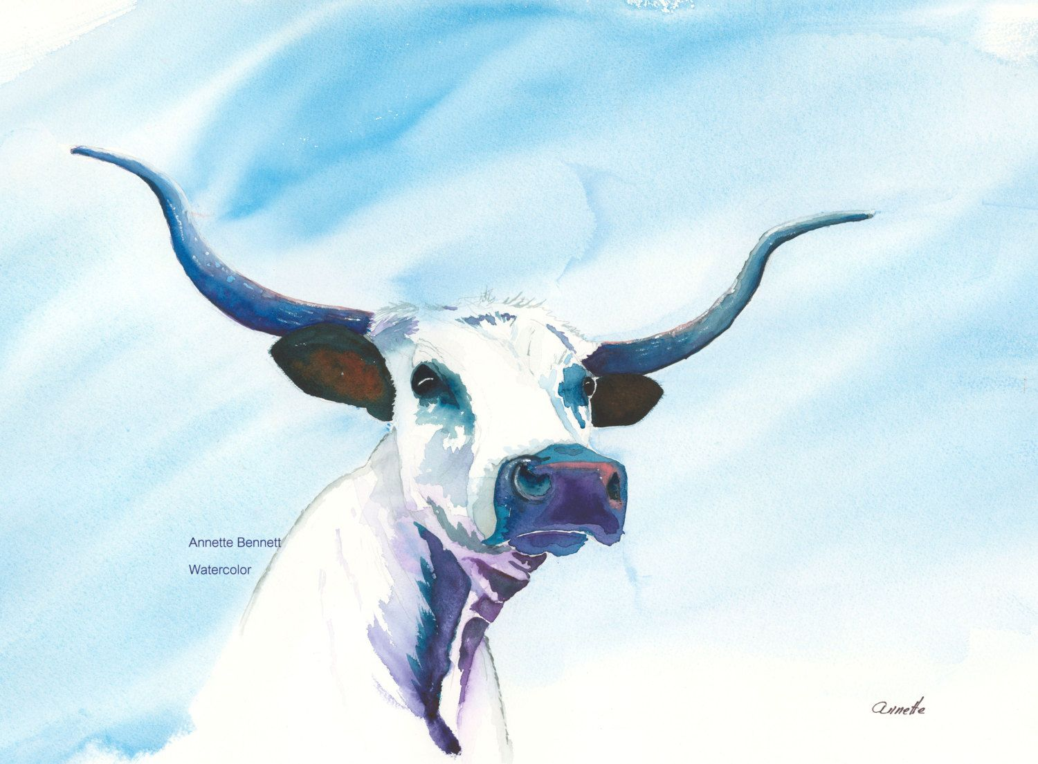 Original watercolor art for sale - Knight Rider Print Of My Original Watercolor Texas Longhorn Is White With Black Accents