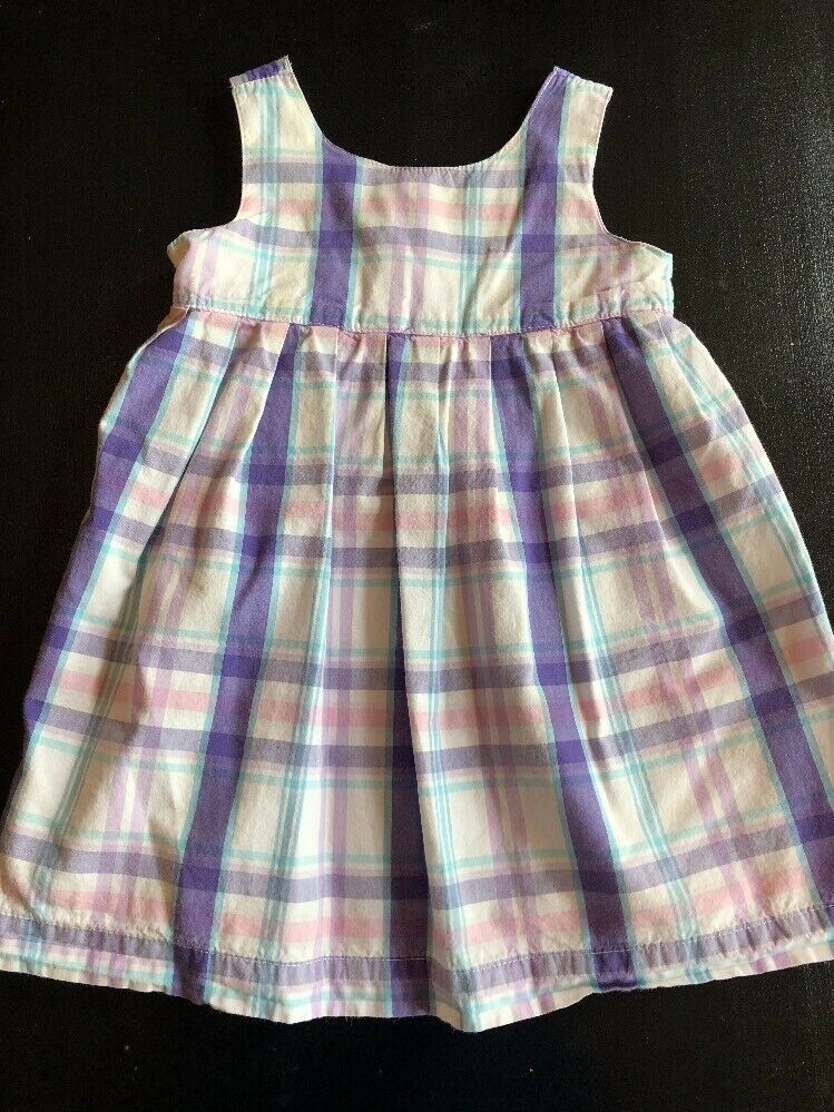 3e45a03f0d Old Navy Girls Dress Size 6-12 Months Purple Pink   White Plaid Sundress  Lined