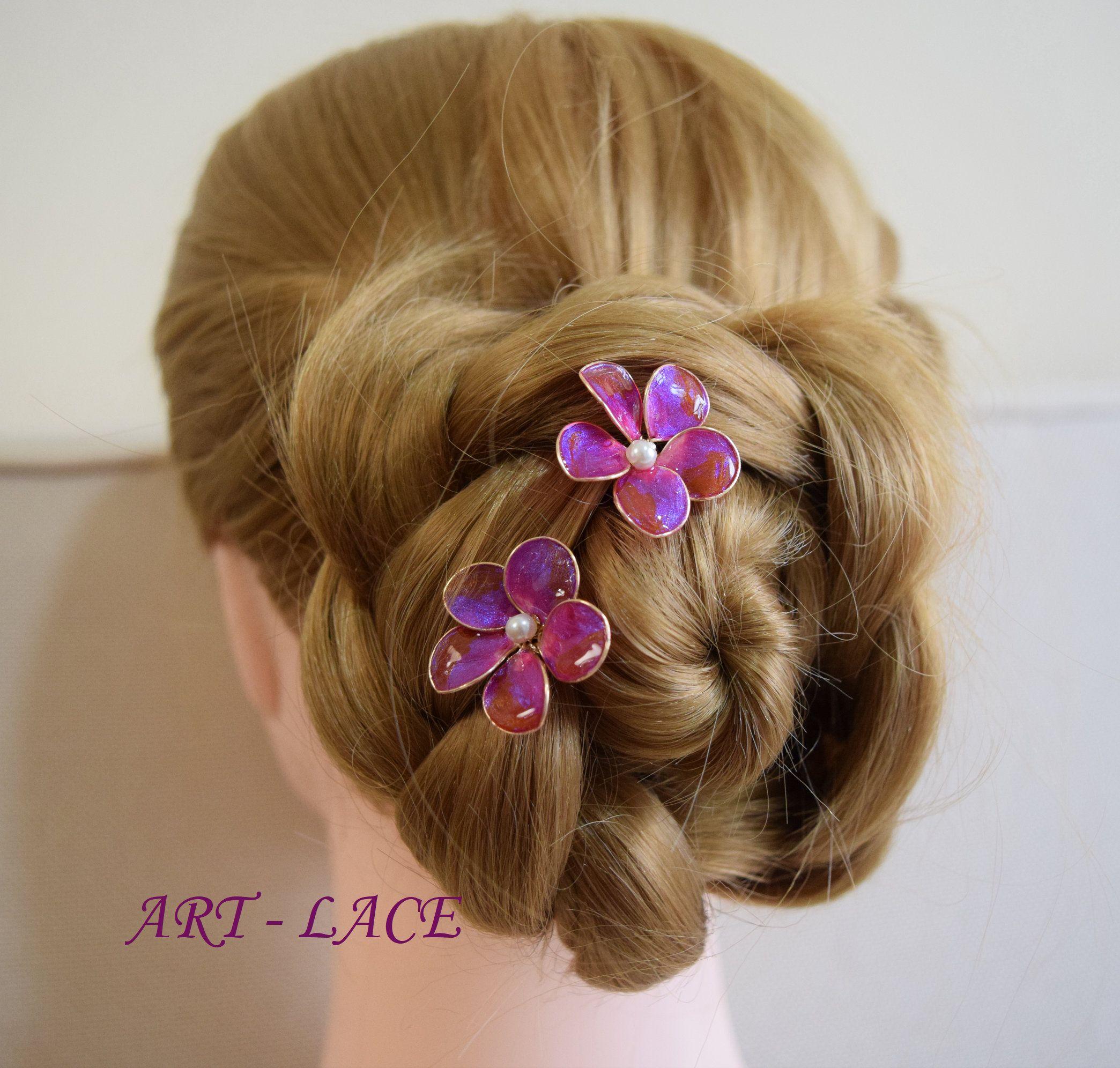 Hawaiian Wedding Hairstyles: Plumeria Hair Picks Megenta Bridal Flower Hair Sticks For