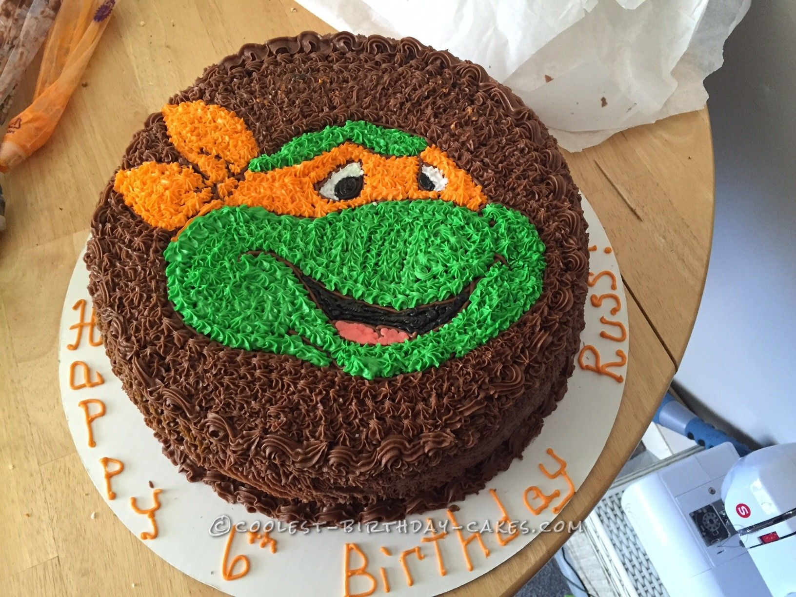 Coolest Ninja Turtle Face Cake Cool Birthday Cakes