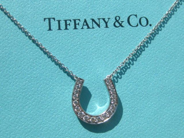 Tiffany Co Diamond Horseshoe Horse Shoe Platinum Necklace Pendant ... 8e2c6b0c9912