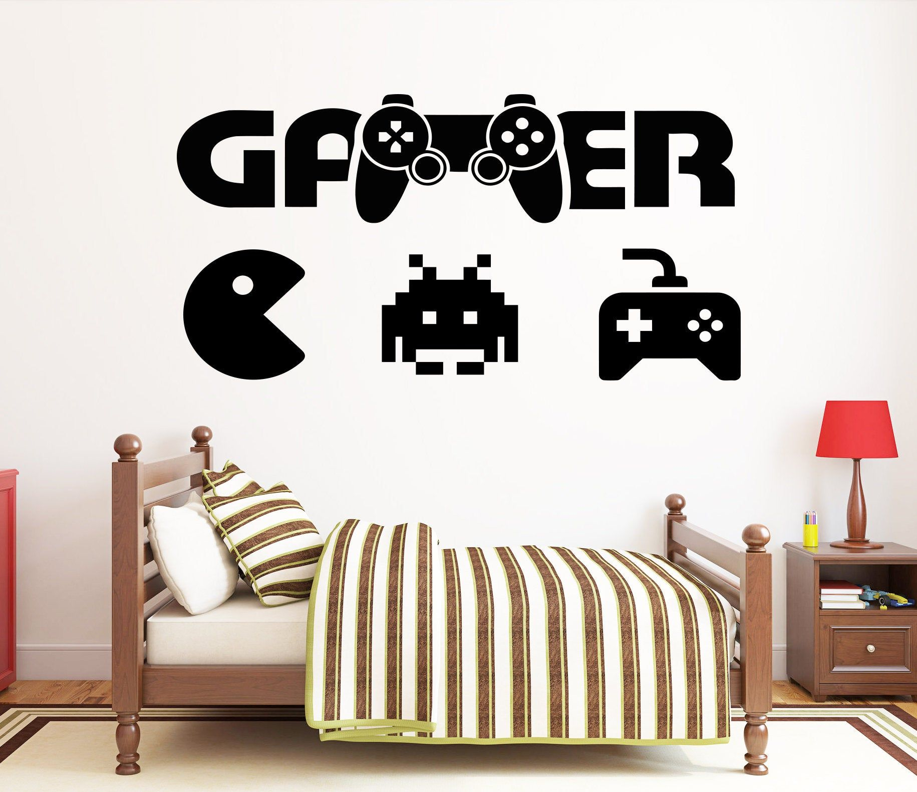 Eat Sleep Game Letters Game Controller Vinyl Wall Stickers Bedroom Decor Gift