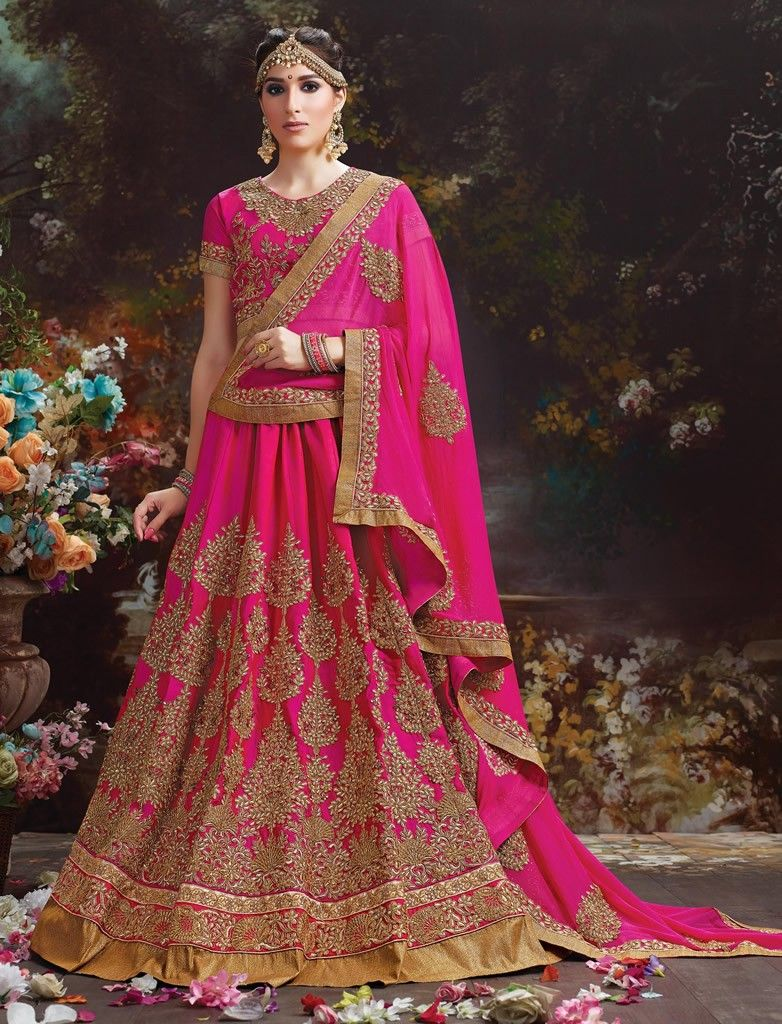 02fd3a8324 Rani Colour Silk Butter Crepe With Heavy Embroidery Wedding Lehenga Choli