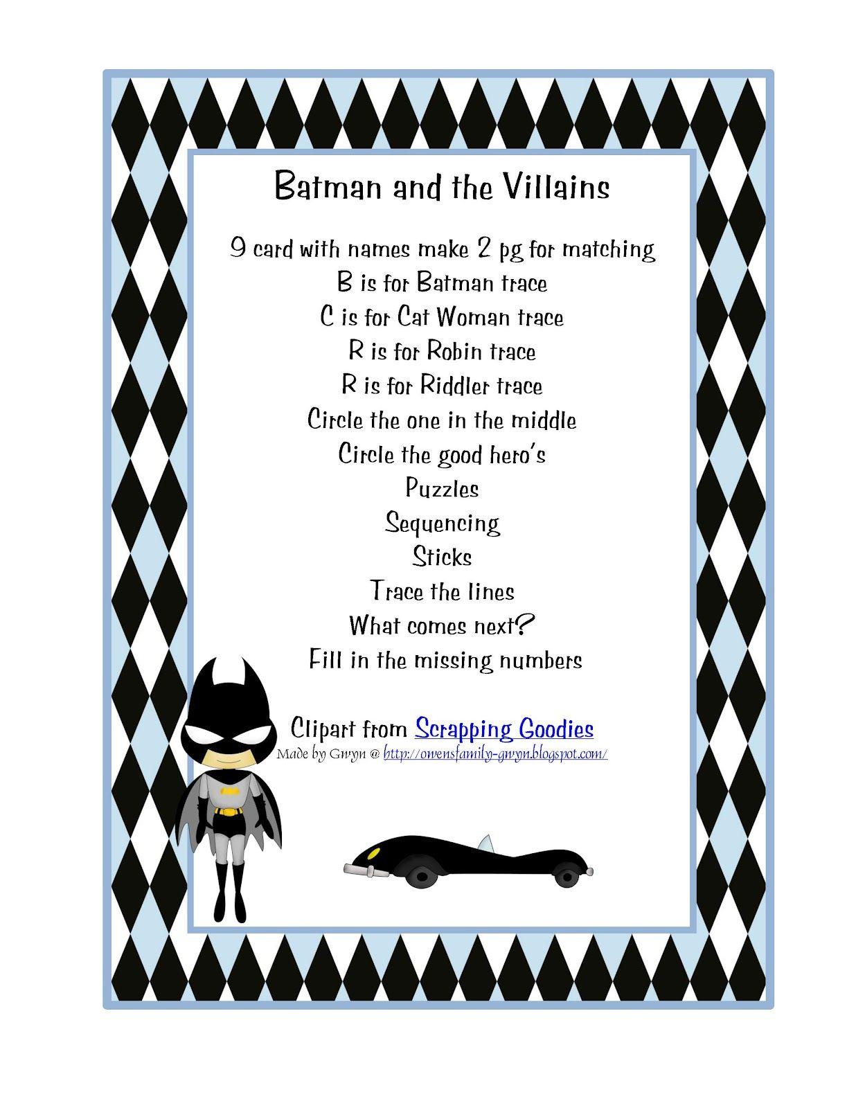 $.99 Preschool Printables: Batman | Preschool printables ...