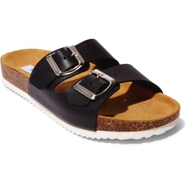 Steve Madden Women's Bearfoot Sandals (70 CAD) ❤ liked on Polyvore featuring shoes, sandals, black, black flat sandals, slip on sandals, leather platform sandals, black sandals and flat sandals