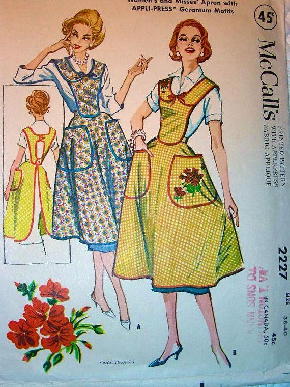 McCall 2227 1950s 50s Bib Aprong Pattern Sewing Pattern Size Medium ...