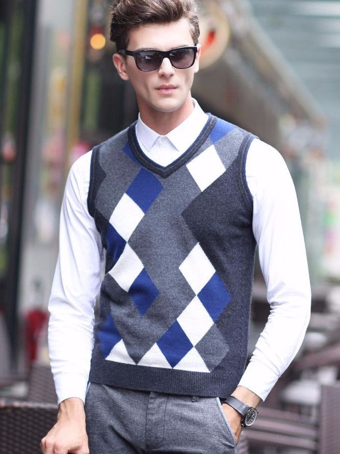 V-Neck Vest Cashmere Sweater for $75.99 #sweatershub #sale | Men's ...