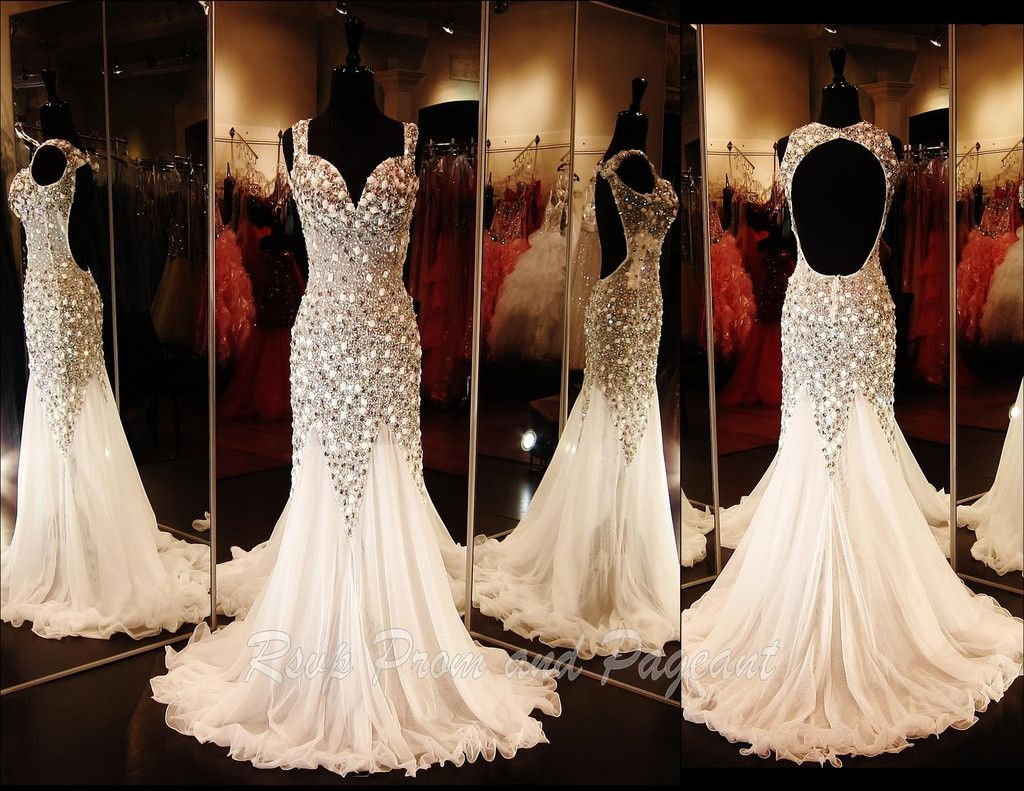 White Prom/Pageant Dress-Sweetheart Neckline-Cap sleeves-open back ...