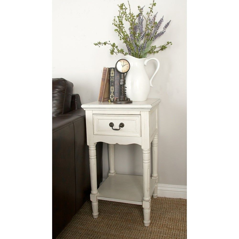 Farmhouse 29 Inch Square Wooden Side Table with Drawer by