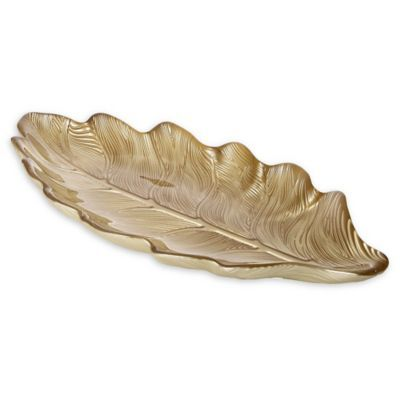 Classic Touch Trophy Leaf Serving Plate Gold Casual Table Settings Dinnerware Sets Coffee Table Tray