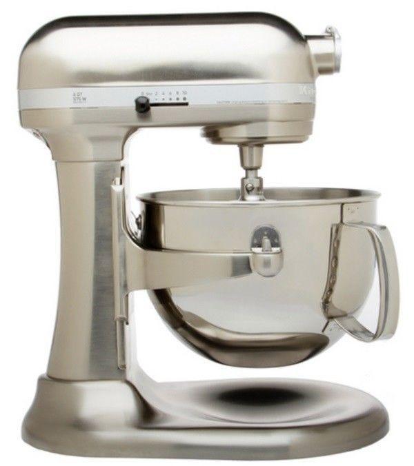 Kitchenaid Brushed Nickel Kp26m1xnk Pro 600 Stand Mixer 6 Quart