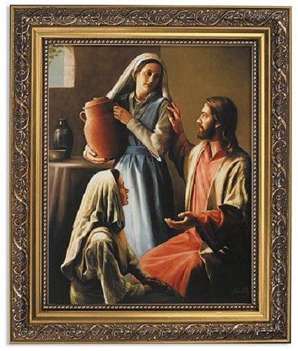 Jesus avec Marthe et Marie peinture de David Lindsley. Print.   Enfant jésus