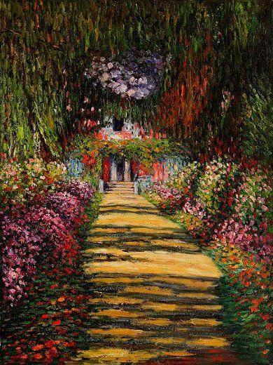 Claude Monet Garden Path At Giverny Iii Artist Monet Monet Art