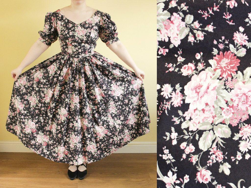 Vintage 80s Laura Ashley black floral midi  dress medium