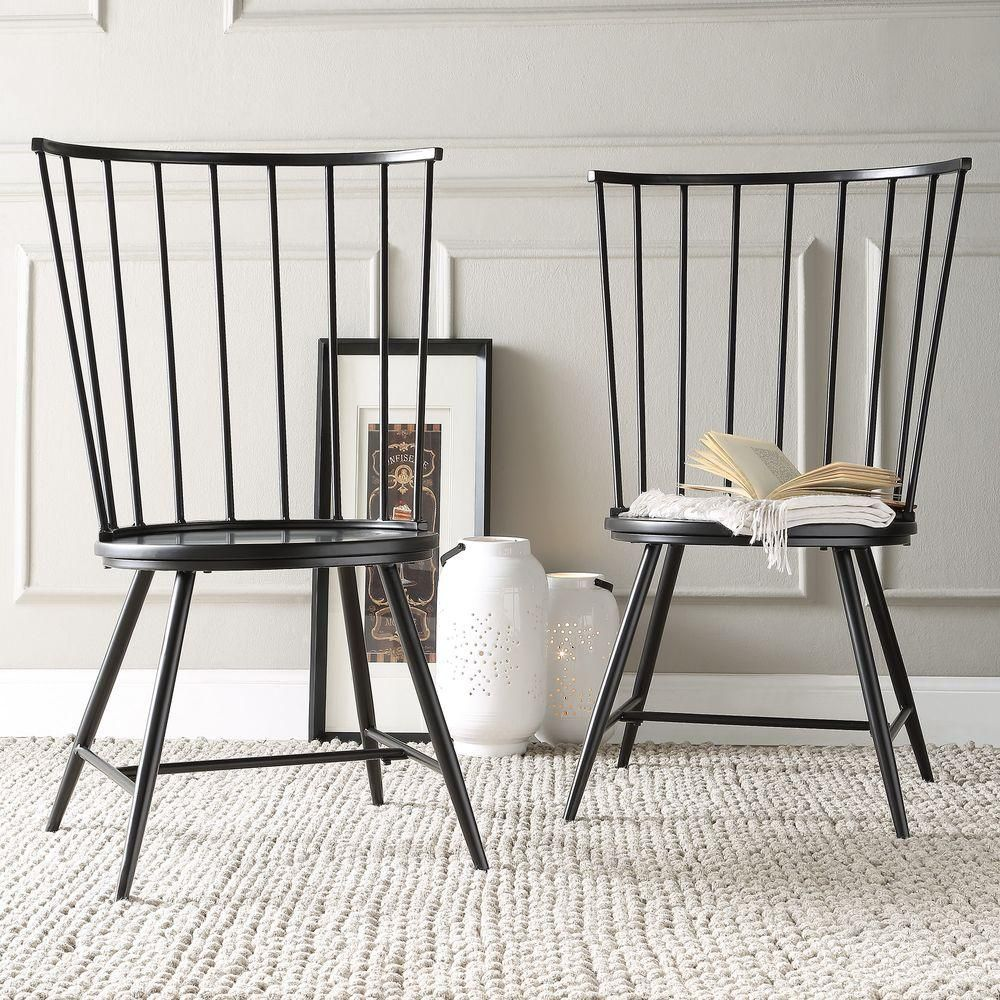 Homesullivan Walker Wood And Metal High Back Dining Chair In Black Set Of 2 40550c Bk3a2pc The Ho Metal Dining Chairs High Back Dining Chairs Dining Chairs