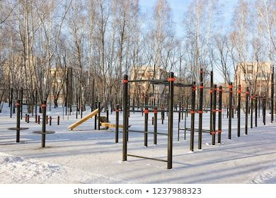 Sports Playground with metal bars in the winter Park for children and adults. Health benefits  #acti...