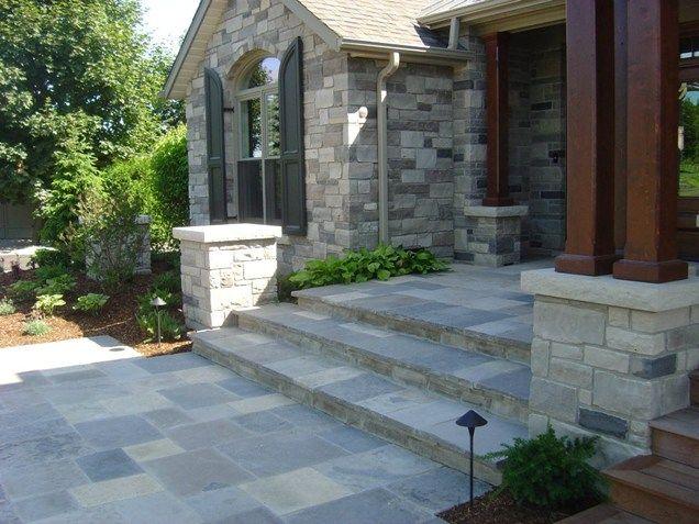 Pin By Kerri Zunkowski On Front Walkway Outdoor Stone Home | Front Door Stairs Design | Main Door Stair | 2Nd Floor | Villa | Brick | Residential