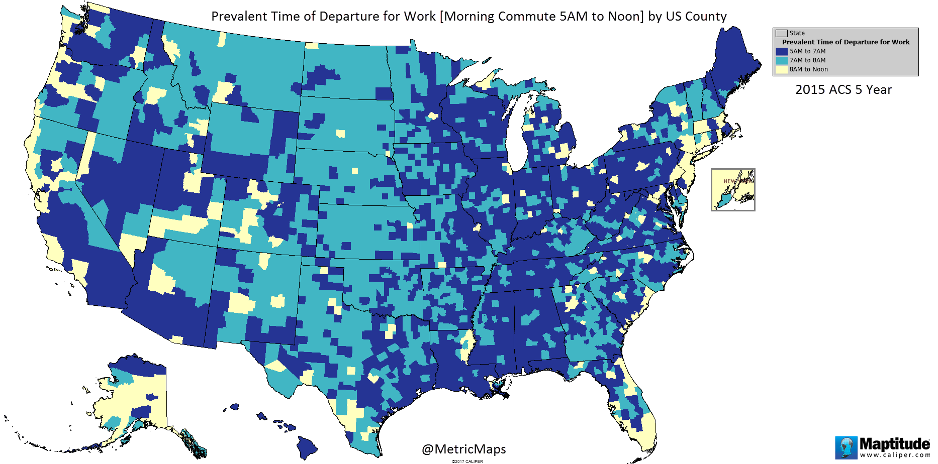 Prevalent time of departure for work by U.S. county