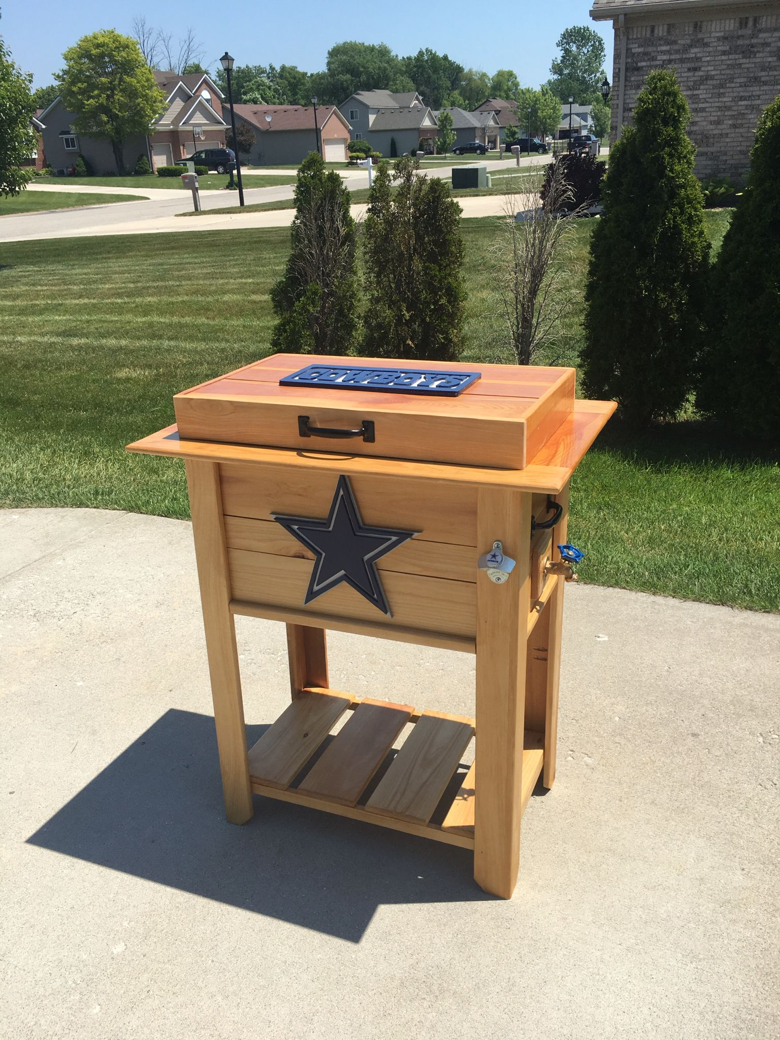 Dallas Cowboys Patio Deck Cooler Or Ice Chest Made From Cedar Fence Pickets Includes A 48 Qt Coleman Cool Deck Cooler Dallas Cowboys Logo Cedar Fence Pickets