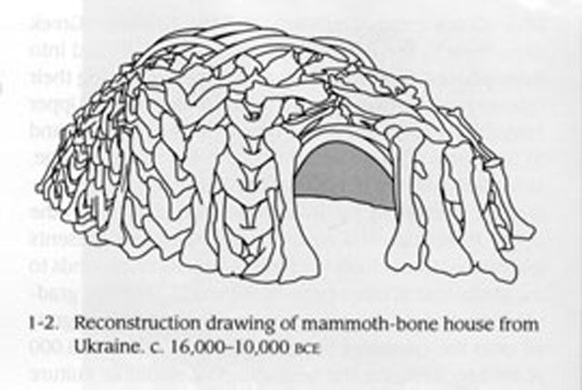 Reconstruction of a mammoth-bone house from Ukraine, 16,000-10,000 BC 30 bone hut sites out of Mammoth bone made by prehistoric humans during the Paleolithic period has been found (as deep as 22.5 m deep) in Czech Republic, Poland and Ukraine in Europe. The huts and houses were Circular or oval huts and as much as 15 to 20 feet in diameter.