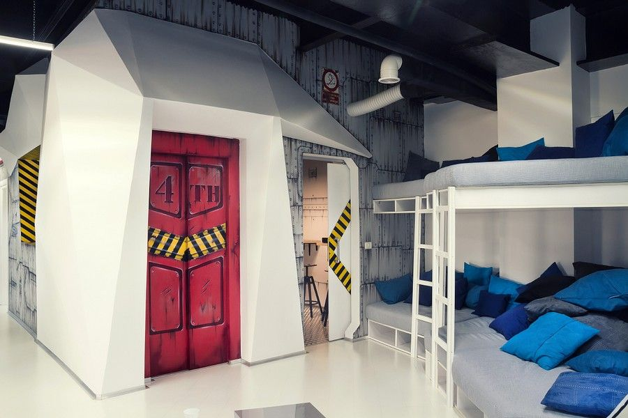 Quirky Spaceship as Game Studio Office by Ezzo Design. Quirky Spaceship as Game Studio Office by Ezzo Design   EG   Wall