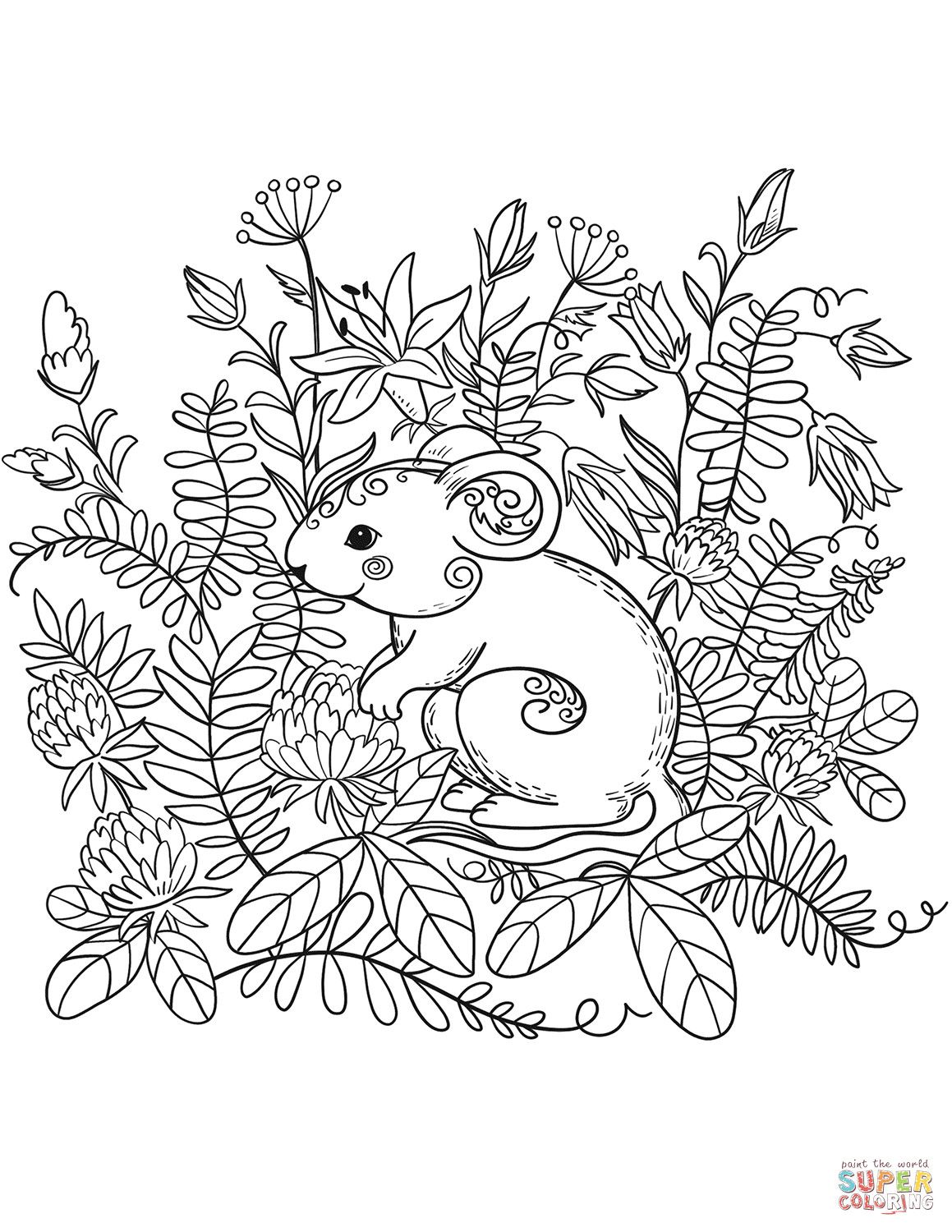 Mouse Coloring Page On Forest Animals Coloring Pages Cute