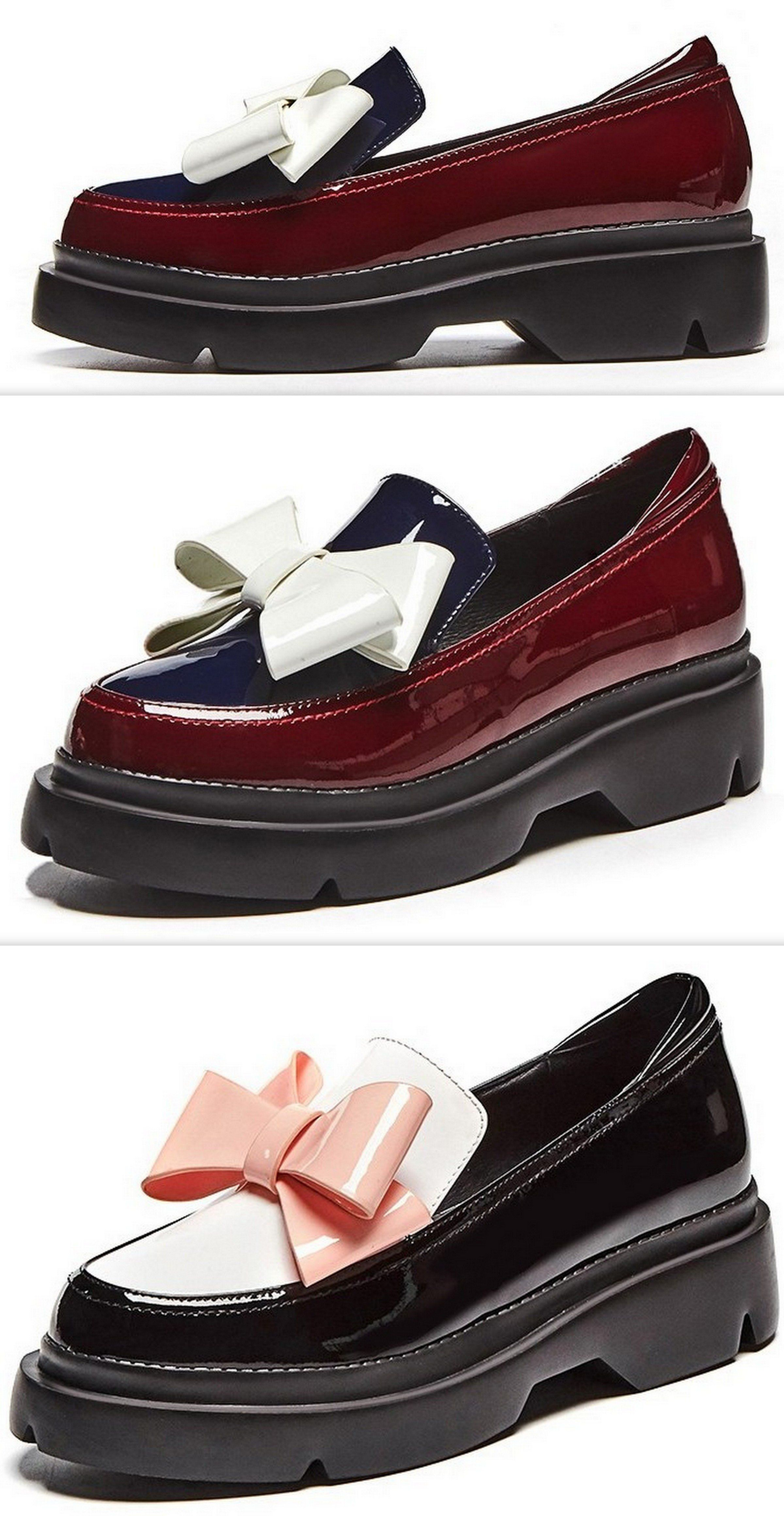 960c93677363 Patent Leather Bow Platform Loafers - Burgundy or Black