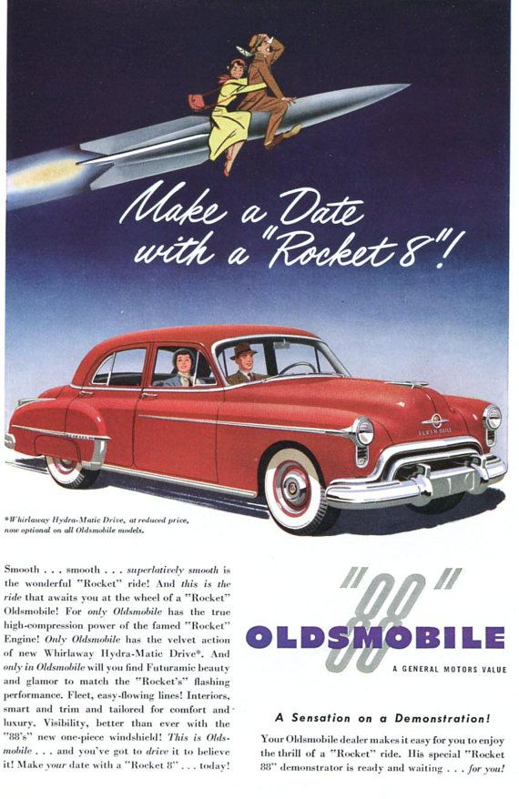 Original Print Ad 1950 Oldsmobile 88 Make A Date With Rocket Advertising-print 1940-49