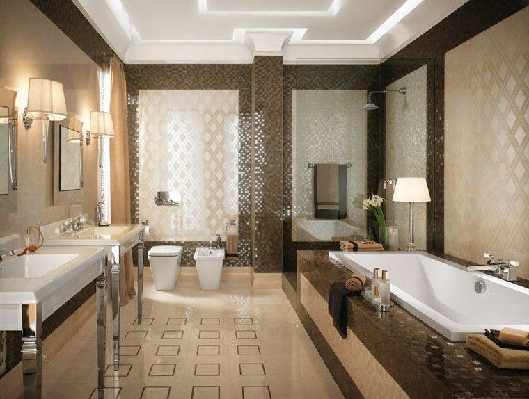 baño lujoso con mosaicos brillantes decoración Pinterest Baños - baos lujosos