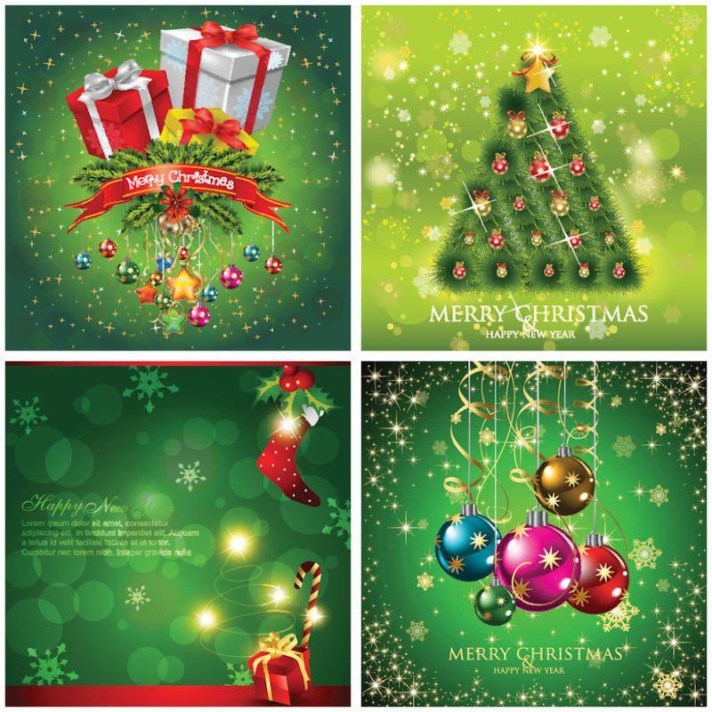 Festive Christmas card templates vector Christmas card