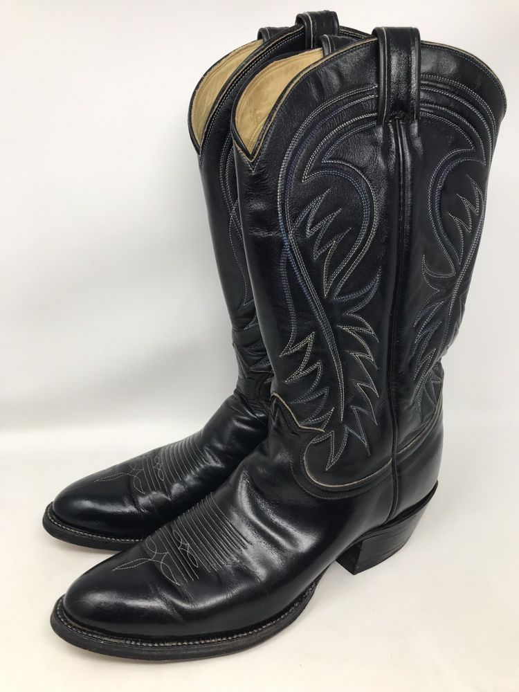15d221f9710 Tony Lama Size 10.5 A Style 6238 Black Leather Western Cowboy Boots ...