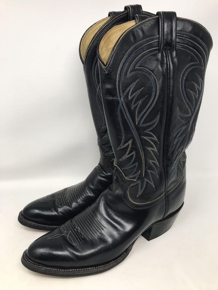 7830a25522e Tony Lama Size 10.5 A Style 6238 Black Leather Western Cowboy Boots ...