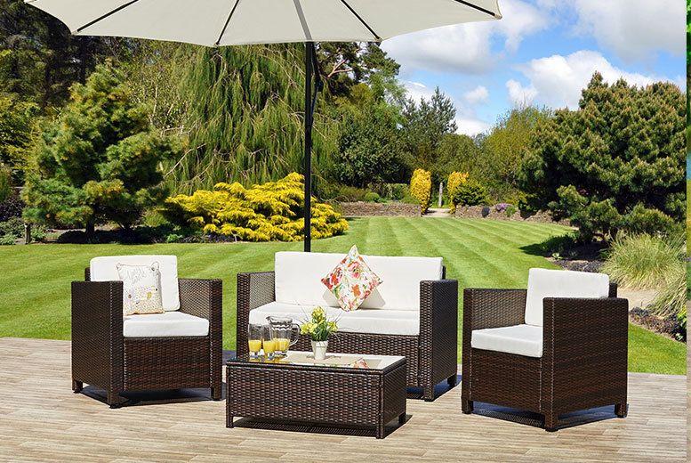 4pc garden rattan sofa set 2 colours deal in sheds garden furniture get