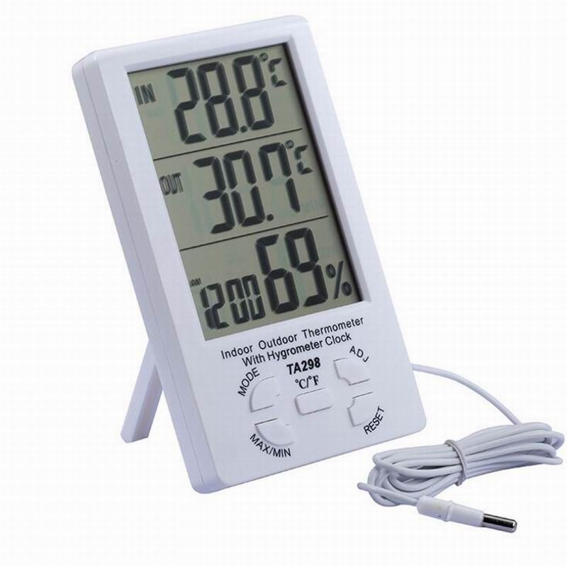New Indoor Outdoor Lcd Digital Solar Temperature Meter Humidity Thermometer Time Clock With Sensor Affiliate