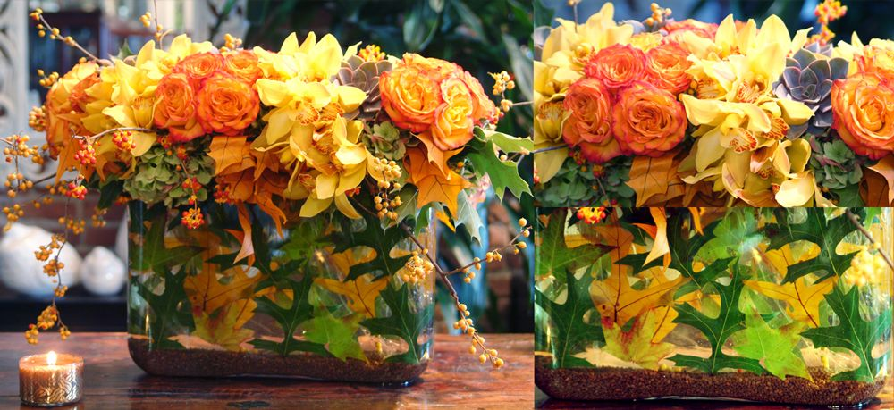 Autumn berries combined with vibrant orange roses and fall