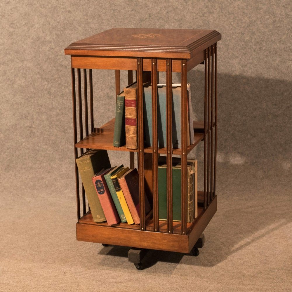 Antique Bookcase Revolving Library Cabinet Book Stand