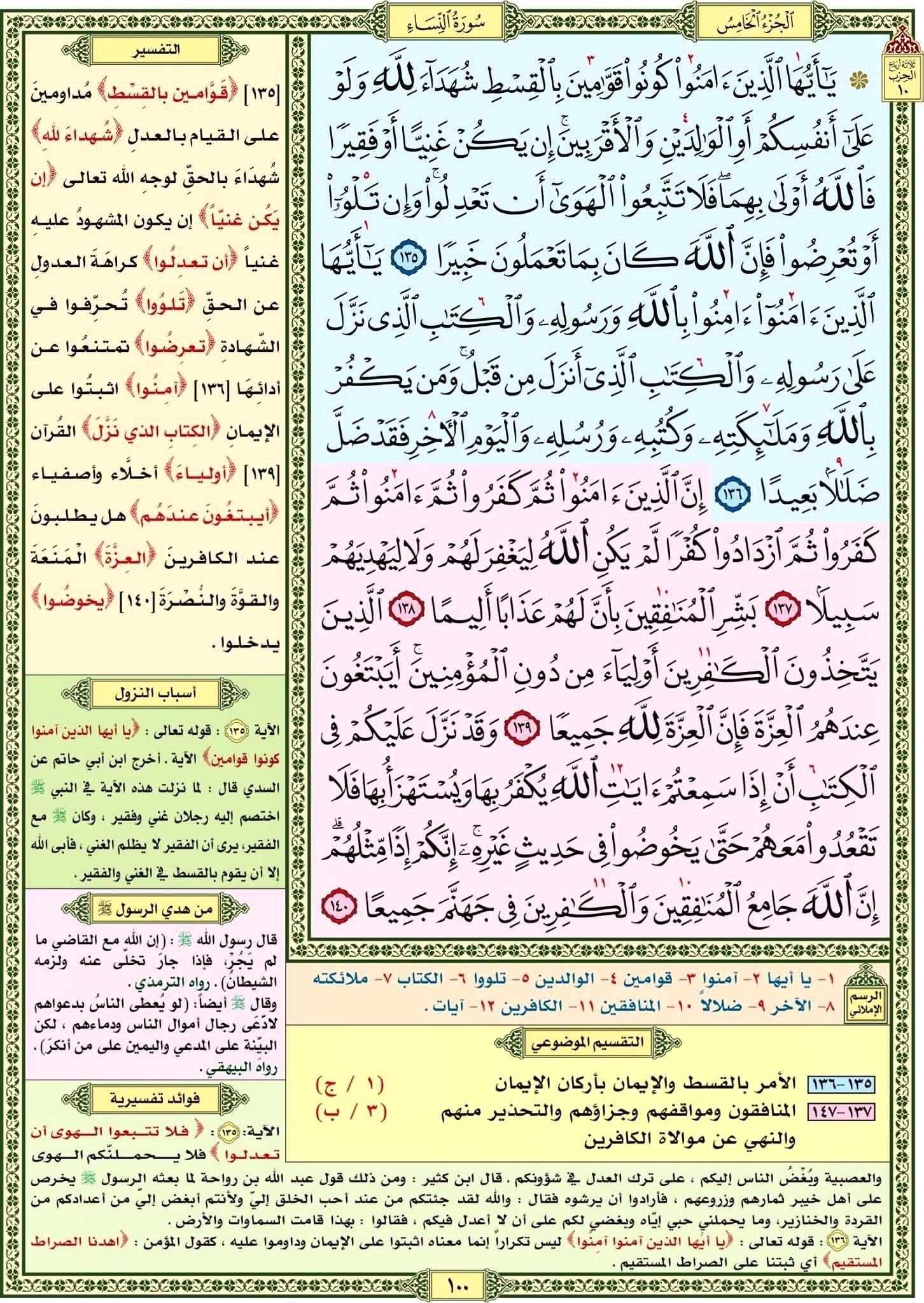 سورة النساء صفحة رقم ١٠٠ مصحف التقسيم الموضوعي للحافظ المتقن Quran Verses Verses Islam Quran